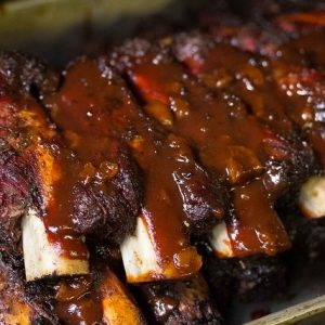 BBQ beef ribs smothered in red sauce