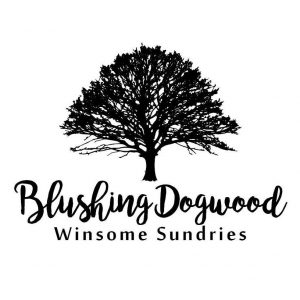 graphic silhouette of showy dogwood tree with Blushing Dogwood name in quirky script below
