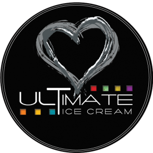 white sketch heart on black background logo for Ultimate Ice Cream