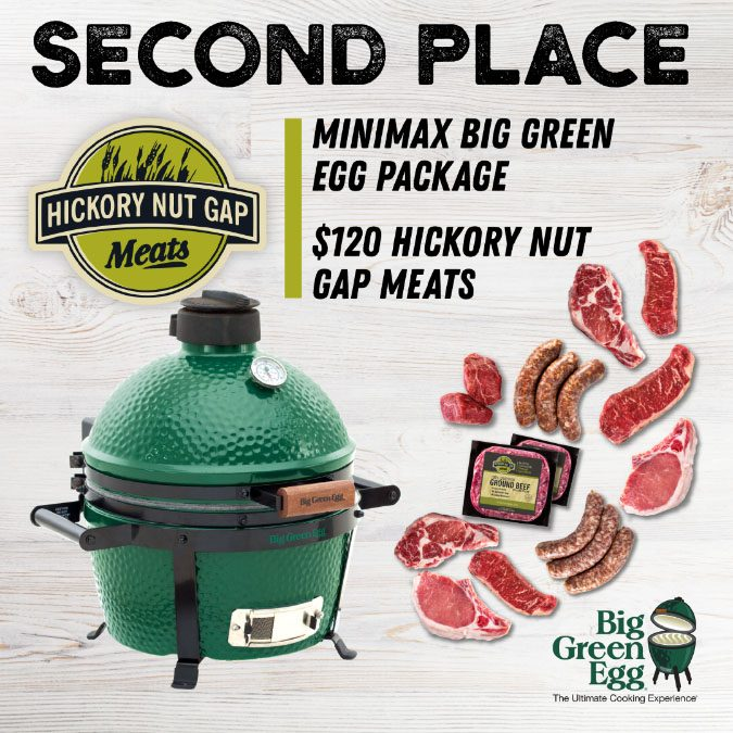 second place prize mini big green egg meat